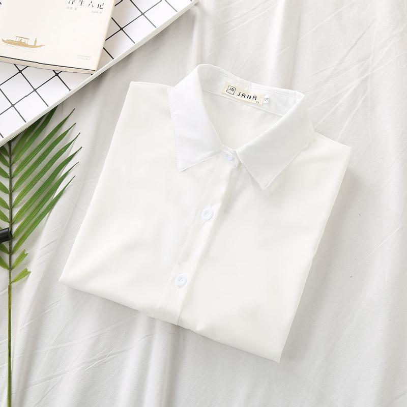Blusa de las mujeres Camisas 2021 NUEVO PRIMAVERA Y OTOÑO COLOR SÓLIDO DE LUDE DE LUGARES BOTÓN LADY BLOUSES PICEO CON LA TIE
