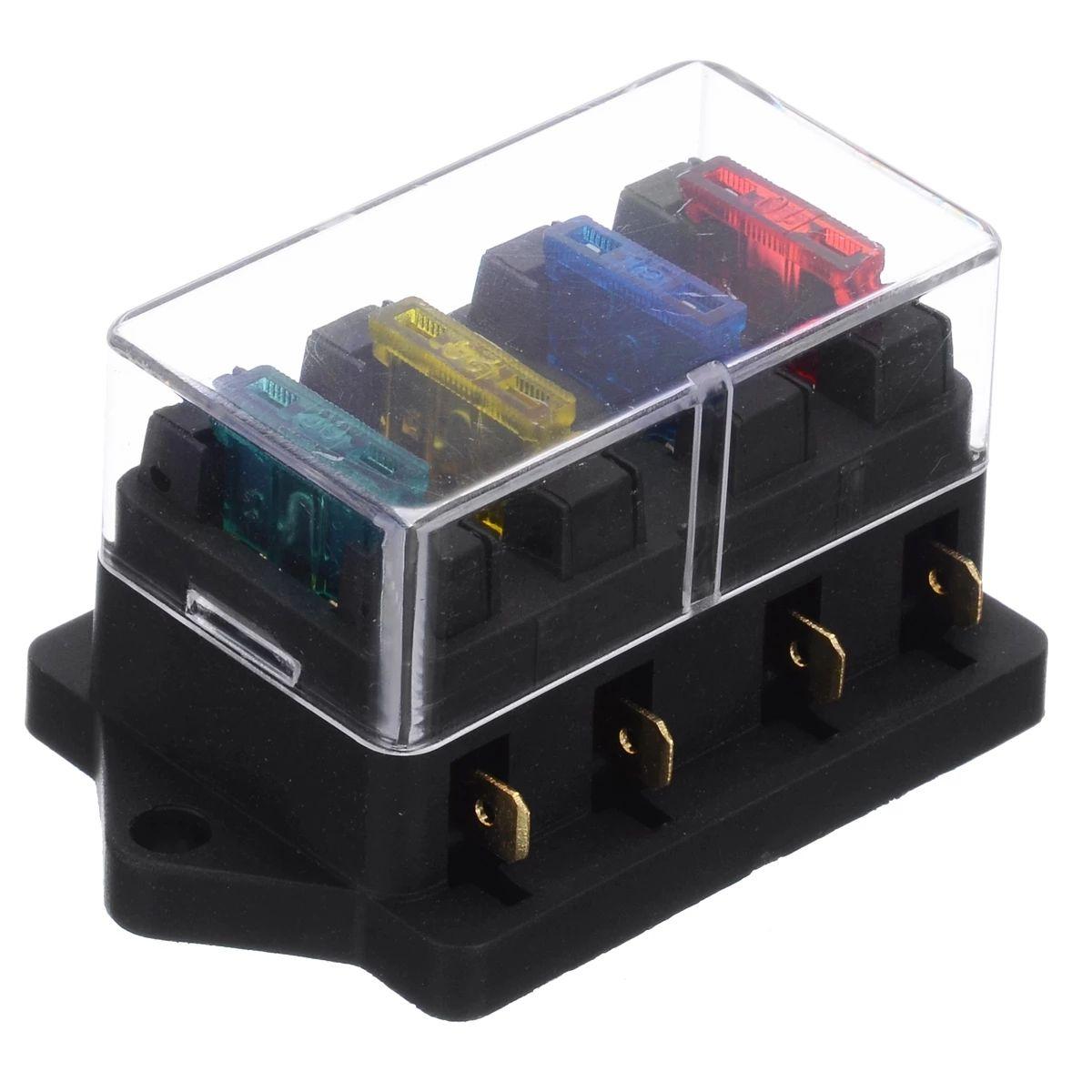 Boîte à fusibles à 4 voies DC 12V 24V Circuit Voiture Remorque Voiture Auto Blade Titulaire de la boîte à fusibles Titulaire de fusible ATO