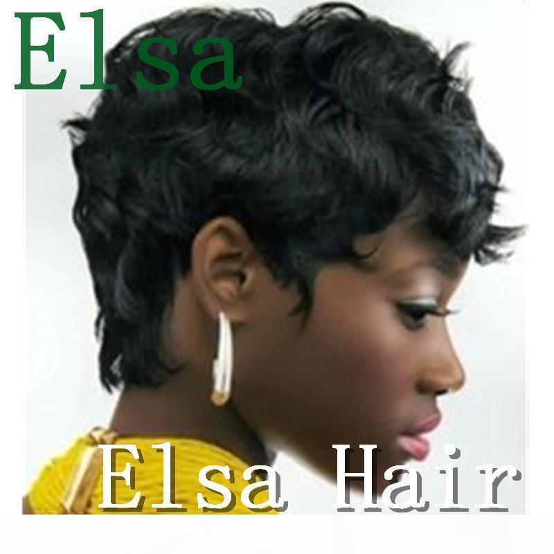 Афро-американских женщин Rihanna короткие пикси человеческие волосы парики парики бразильские короткие без кружева фронт человеческих волос для чернокожих женщин