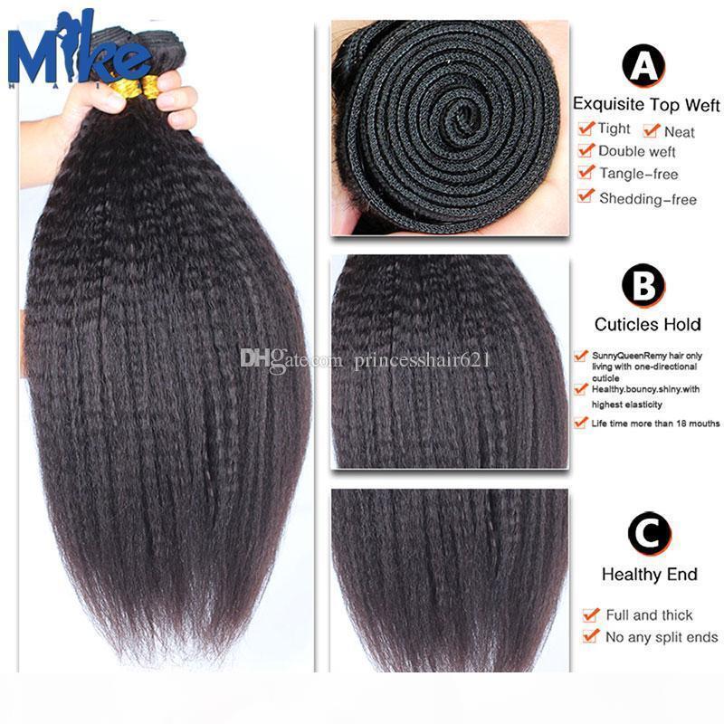 Mikehair Brasileño Kinky Straight Human Hair Hair 3 Paquetes peruanos Malasia India Mongolian Weave Weave 8-30 pulgadas Yaki Extensiones de cabello recto