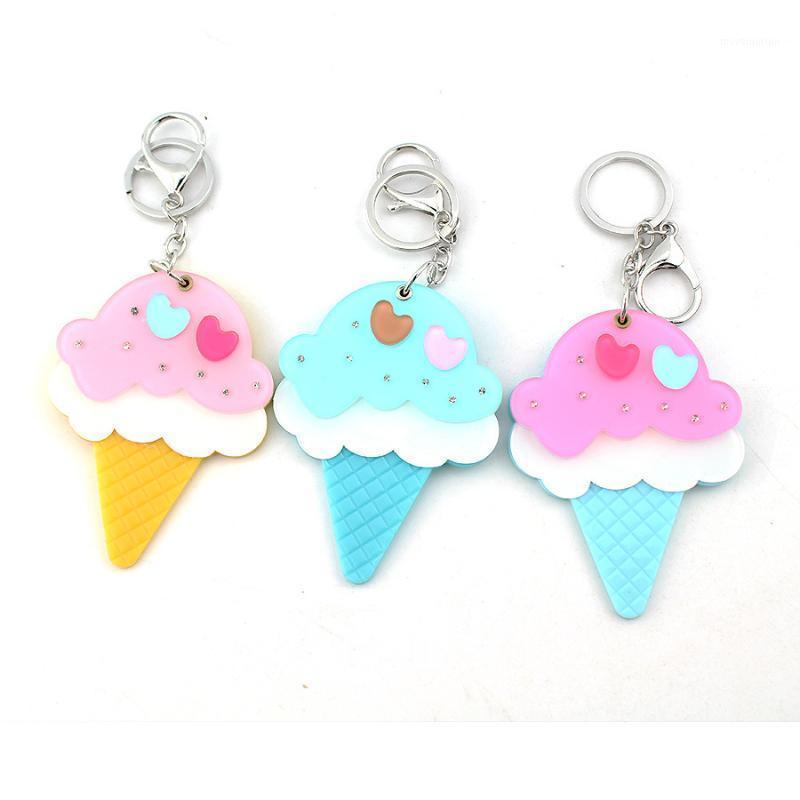 E-Ling Beychain Симпатичные сливки Ключ Кольцо Цветочное Зеркало Ключевая Женская Сумка Подвеска для Девочки1