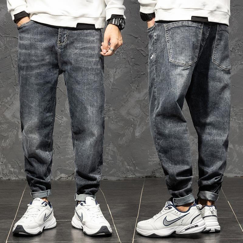 Primavera e outono Novas calças de brim soltas tamanho grande M-4XL 5XL 6xl jeans em linha jeans calças de calças de longa trecho Harem marca calça de algodão
