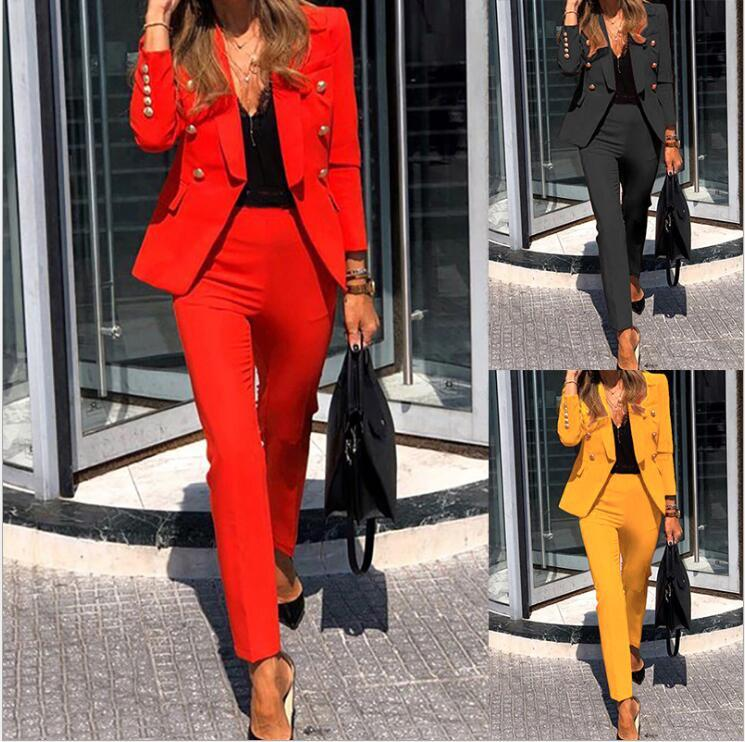 Diseñador de mujeres Traje sólido Traje de dos piezas Slim Fit Moda Solapa de manga larga Pantalones de manga larga