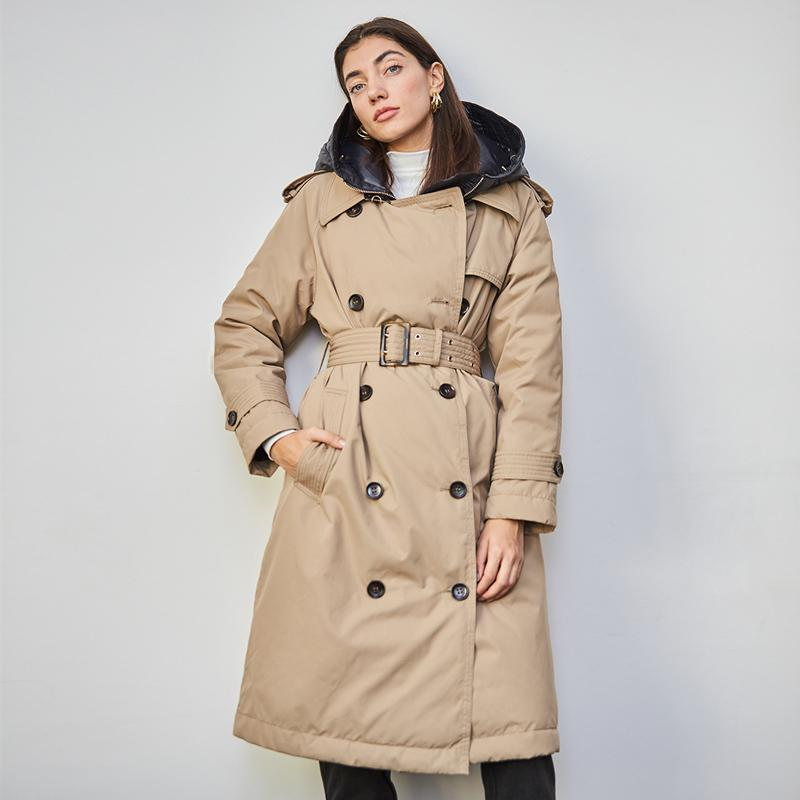 British Down Trench Coat Winter White Duck Down Jacket Women Hooded Long Thick Warm Jackets Puffer Feather Female Parka Mujer 201118