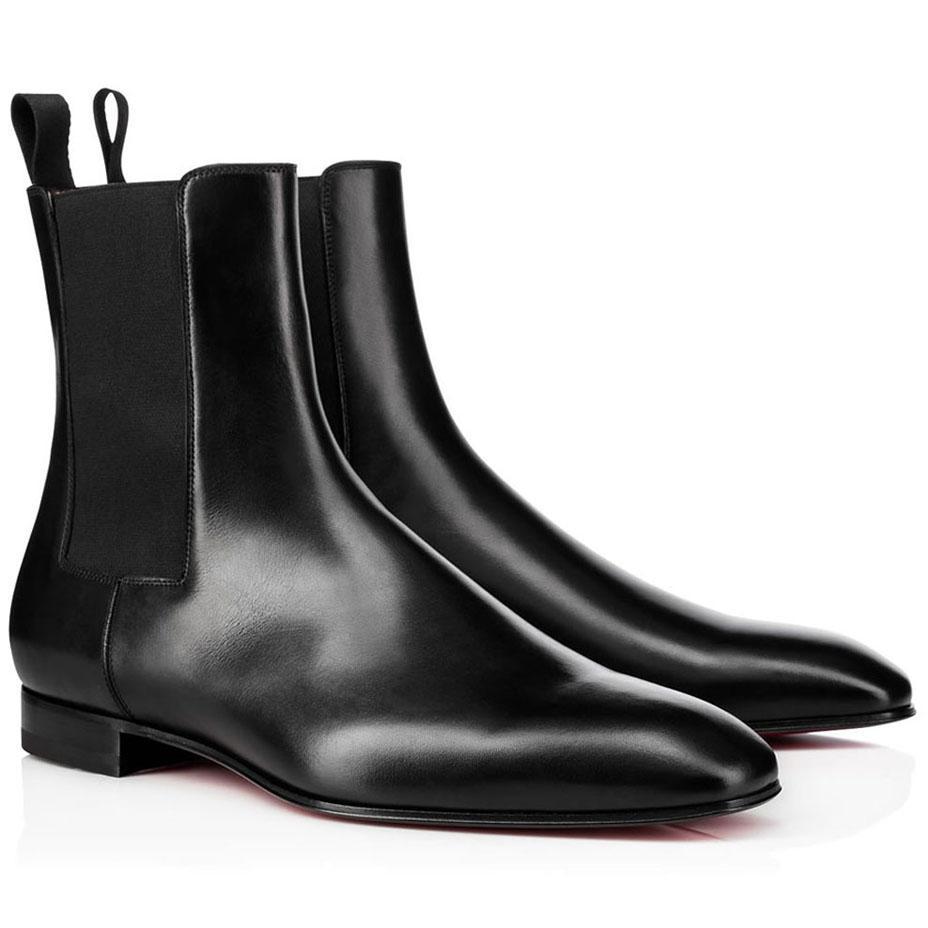 2020 Luxurys Designer-Schuhe für Herren Boots-Rot-Unterseite Roadie Wohnung für Männer Stiefeletten Schwarz Braun Wildleder / Leder Sneakers Wohnungen mit Kasten