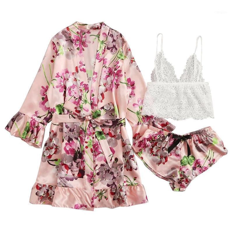 Chamsgend Satin Seide Pyjamas Sets Sexy Blumendruck Langarm Dessous Frauen Damen Nachtwäsche Bademantel Roben Bademantel Kimono1