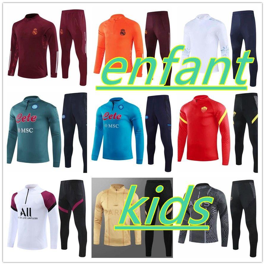 Survêtement Jordan Nike PSG Enfant 2021 Naples Real Madrid Football Survêtements Garçons et Filles Paris MBAPPE Jogging Training Suit