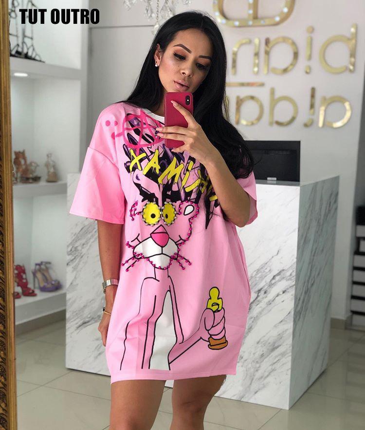 다이아몬드 동물 드레스 여성 핑크 팬더 티셔츠 드레스 티셔츠 드레스 여름 O 넥 짧은 소매 느슨한 Z342 Y200623