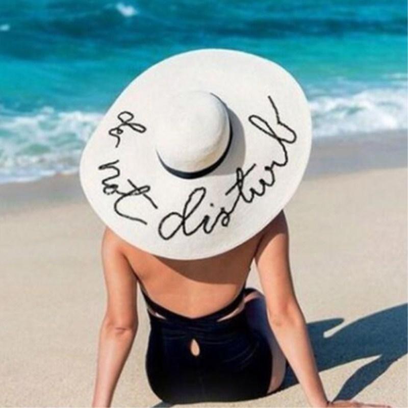 Seioum Летнее Большой Brim Sun Hats Для Женщин Мода Свины Письмо не беспокоить Вышивка Сложенная Глопная Шляпа Bohemia Beach Cap Y200602