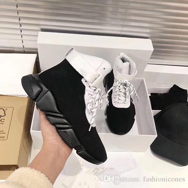 2021 Moda Örgü Mektubu Çorap Ayakkabı Sneakers Hız Düz Eğitim Ayakkabı Erkekler Ve Kadınlar Elastik Çorap Çizmeleri ile Orijinal Kutusu