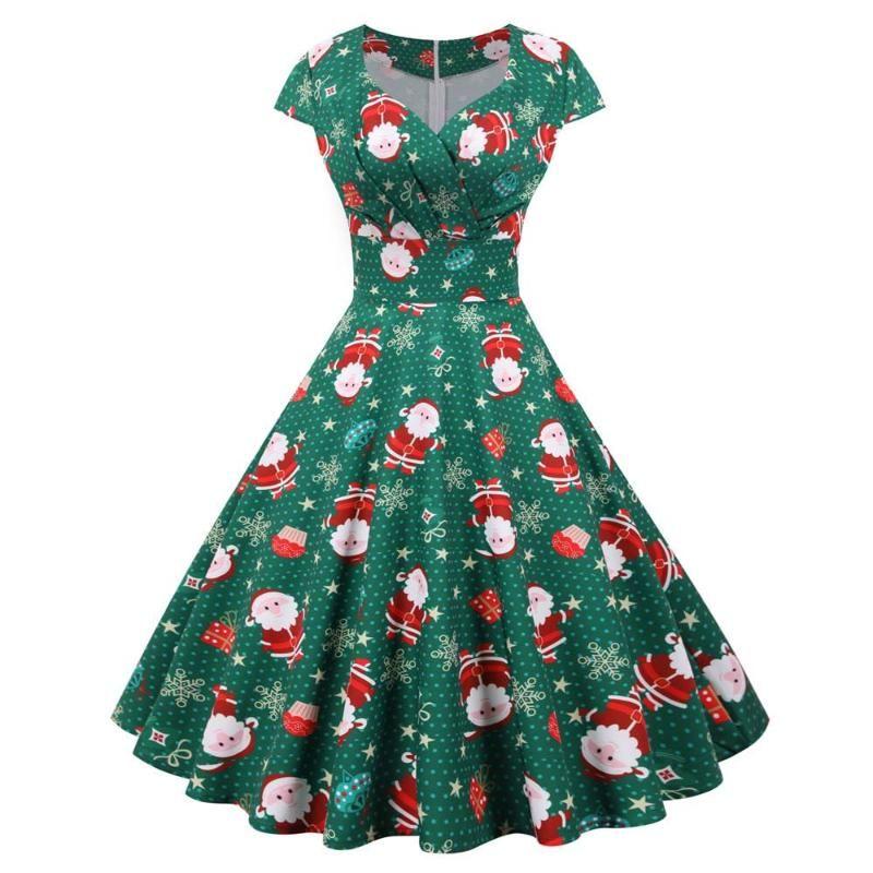 Günlük Elbiseler Elbise Noel Partisi Kadınlar Bayanlar Giyim Kısa Kollu V Boyun Salıncak Zarif Kadın Moda
