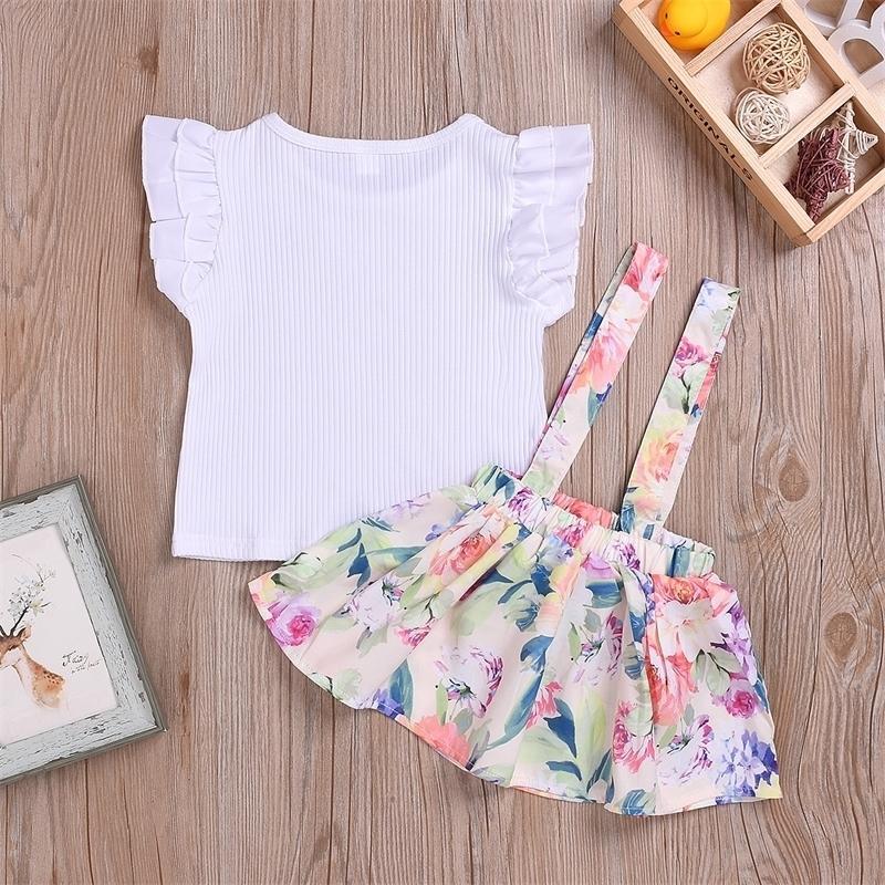 Vestido de correa impresa de algodón Traje de ropa Ropa de niñas L4.17 201126