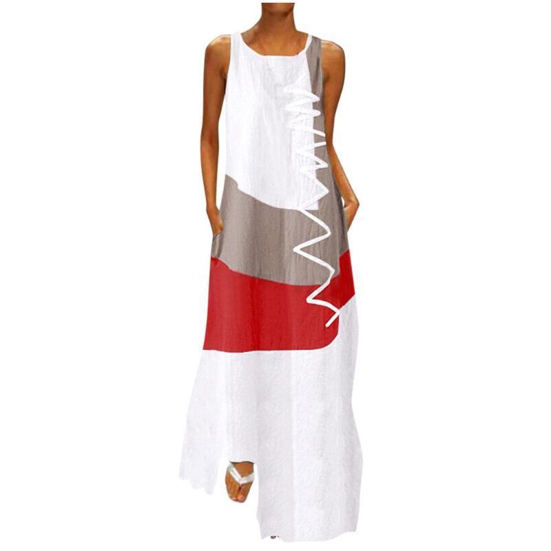 Abiti casual Donne Patchwork Sundress Zanzea 2021 Estate Maxi Dress Kaftan senza maniche Tunica Vestido femmina 100% cotone Robe Plus Size