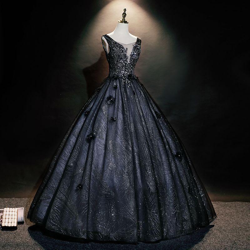 Luxus Black Glitter Stickerei Perlen Venedig Karneval Queen Ballkleid Prinzessin mittelalterliche Kleid Renaissance Kleid Victoria / Antoinette