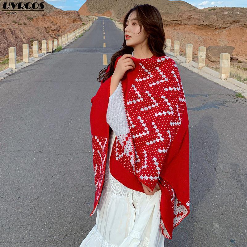 Hiver nouvelle célèbre dames châle épaissi en cachemire chaude écharpe étanche résistant au vent manteau décoratif décoratif décoratif long voyage couverture écharpe1