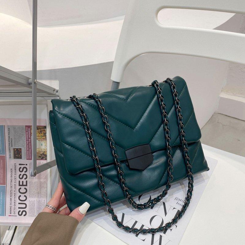 Kadın Tasarımcı Kaliteli Deri Zincirler Çanta 2021 Omuz Kadın Moda Çanta Lüks Katı Crossbody Renk Çantalar Ve Çanta XOJSQ