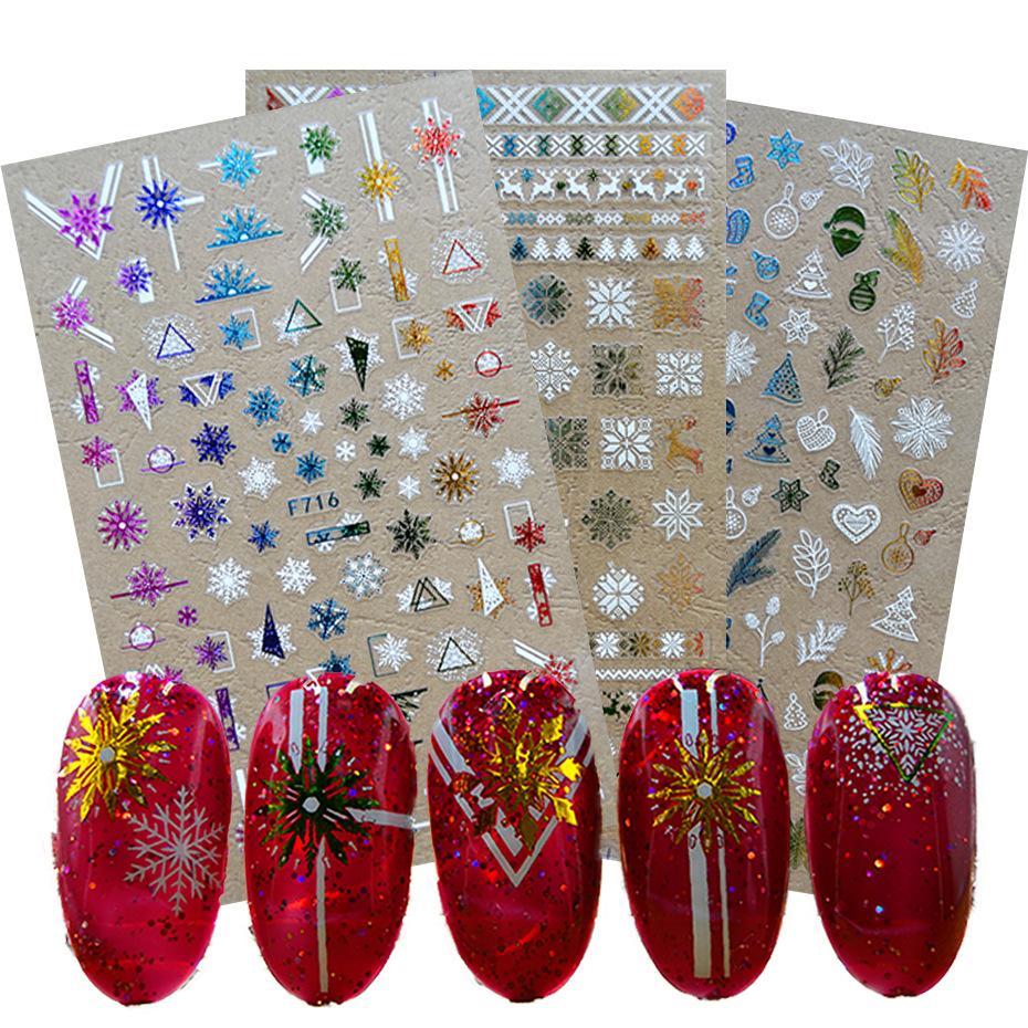Chrismas tnail ملصقات الشتاء ندفة الثلج الأيائل اللون الأبيض الذهب عيد الميلاد الأظافر الظهر الغراء مسمار