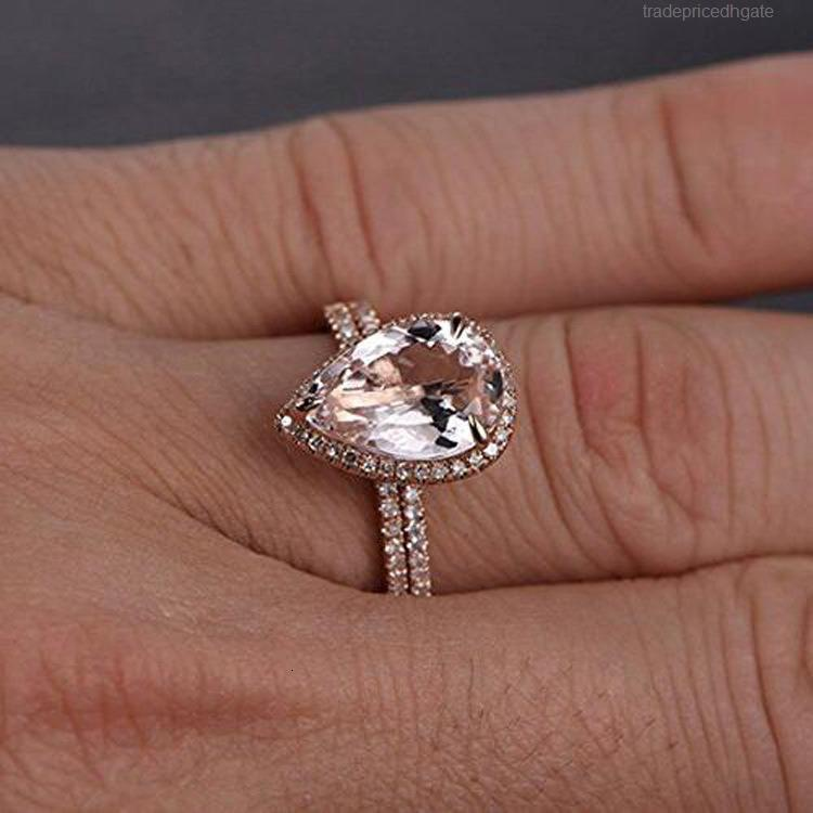 Zweiteiliges Rosengold Exquisites Herz-förmiges Diamant-Micro-Zubehör Set Zirkon-Verlobungsring