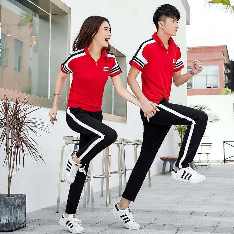Cotton 2020 spring summer couple sports suit Korean casual sweater short sleeve T-shirt sportswear two piece set