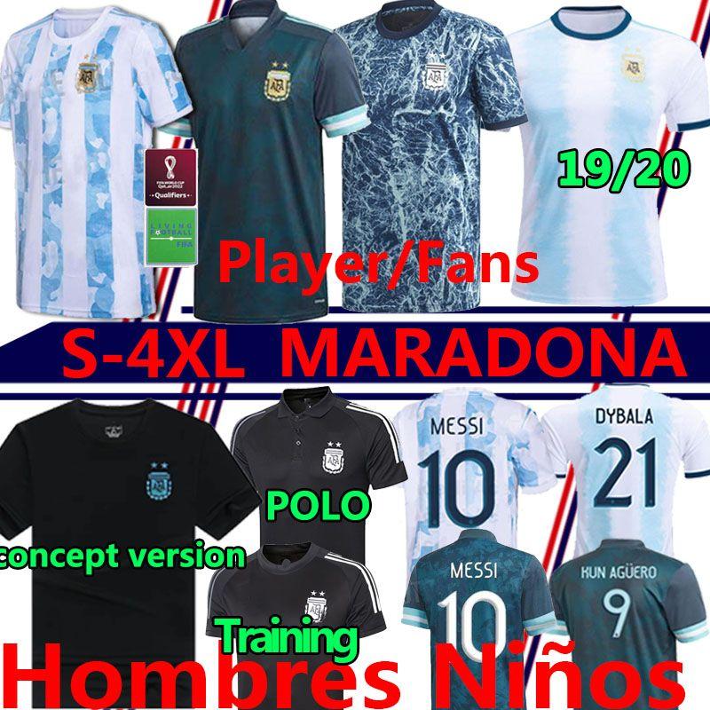 Maradona Argentinien Spieler Fans Fussball Jersey 2020 2021 Camisetas Polo Messi Dybala Dimaria Aguero Lauteraro Männer Kinder Kits Fußball Hemdhosen