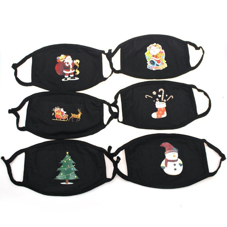 Baum Cartoon Santa Gesicht Hirsch Masken Claus Weihnachtsmundabdeckung Staubdichte Waschbare Weihnachten Weihnachten Druckmaske Cyz2659