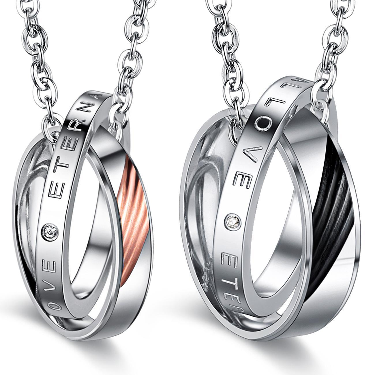 Accessori per gli amanti dei monili di modo Promise Coppia in acciaio 316L in acciaio nero e oro rosa intarsiato cz collane a sospensione diamante ffgx1076