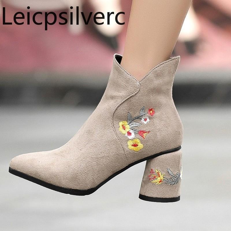 Stivali da donna Autunno e inverno New Fashion appuntito cerniera a cerniera fiore spesso tacco alto tacco alto tubo corto tubo da donna più dimensioni 33-43