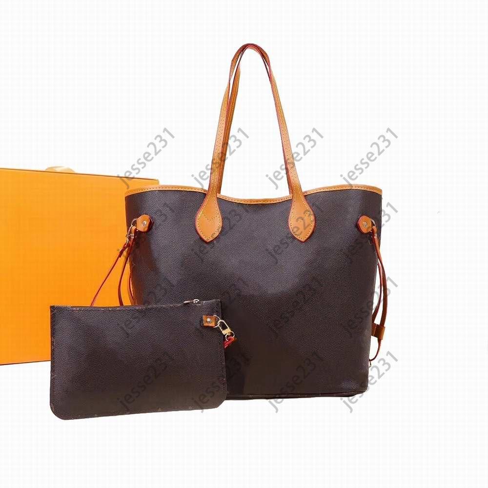 Top Qualität Mode Womens 2 teile / satz Braune Blumengitter Umhängetaschen Handtaschen Verbundtasche Clutch Bag Crossbody Taschen Tote Messenger Geldbörse