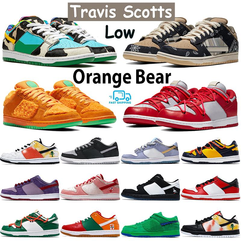 Travis scotts chunky dunky mens dunk sneakers shadow sean chicago pine green orange panada plum university red tie-dye basketball shoes