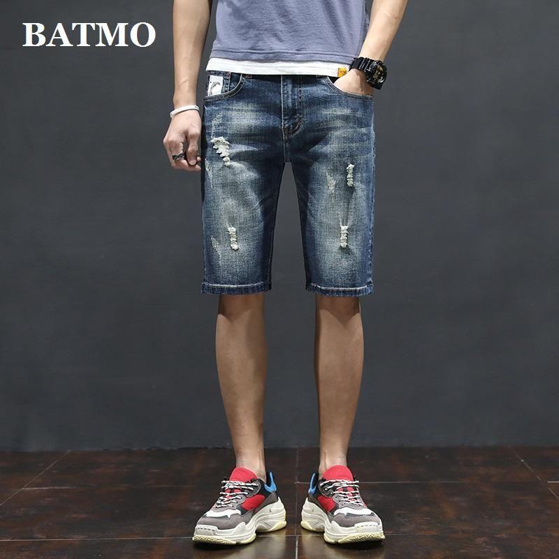 Мужские джинсы Batmo 2021 поступление Высокое Качество Повседневные тонкие упругие мужчины, мужские джинсовые шорты, тощий W007