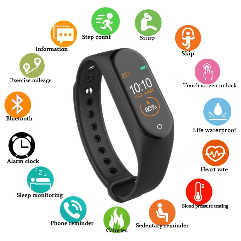 M4 Smart Band 4 Real Bracelet de la pression artérielle de la fréquence cardiaque Sport Smartwatch Moniteur Health Fitness Tracker Smart Montre Bracelet FWB3380