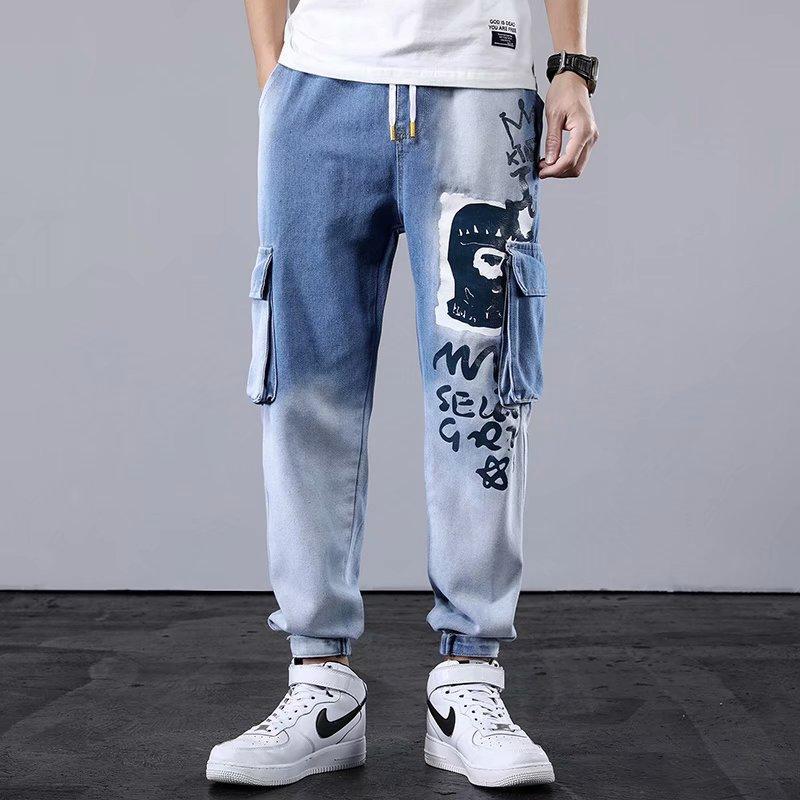 Alta Qualidade Calças de Carga dos Homens Streetwear Juntos Homens Calças Harem Calças Casuais Homens Roupas Hip Hop Elastic Cintura Pant