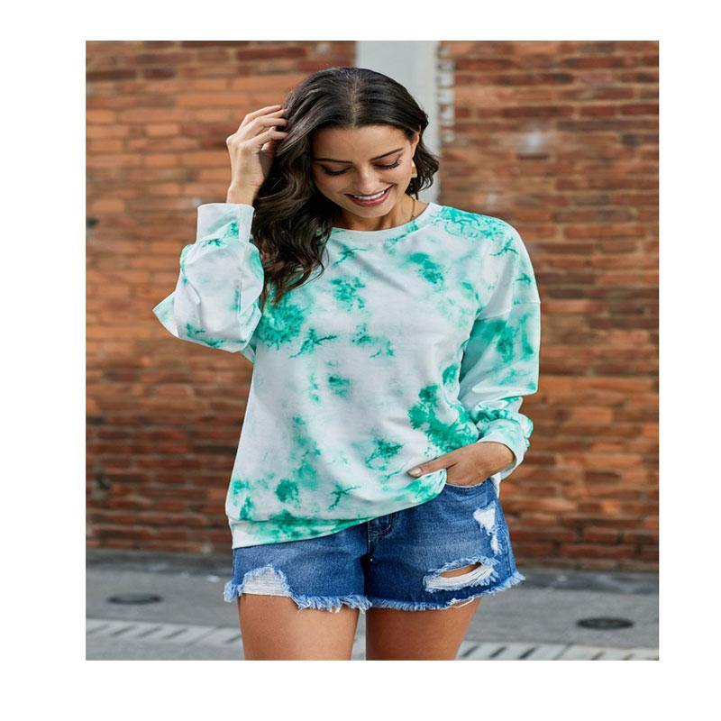 Atacado personalizado tie-tintura tendência nova senhoras moda casual o-pescoço de mangas compridas t-shirt gradient cor impressão top xl