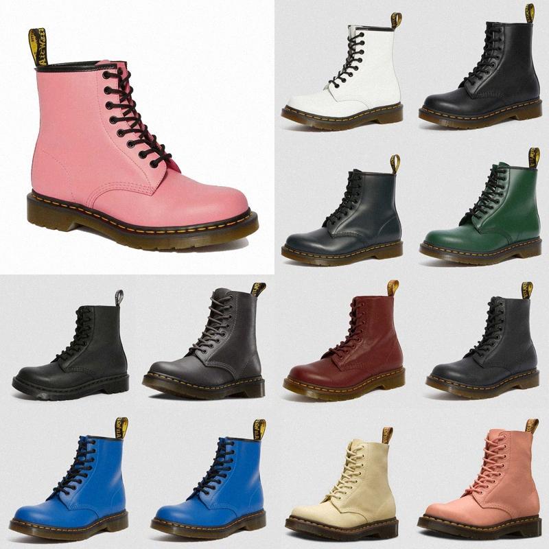 2020 Unisex Yüksek Kalite Su Geçirmez Sonbahar Kış Çizmeler Erkekler Siyah Martin Çizmeler Deri Çizmeler Erkekler Dr Martins Ayakkabı Büyük Boy 38-44 # 334 Z484 #