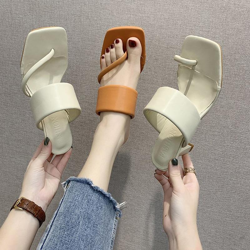Zapatos de vestir para mujer zapatillas bombas femmes sandalias tacones altos thin square toe slipper 2021 verano romano moda diapositivas