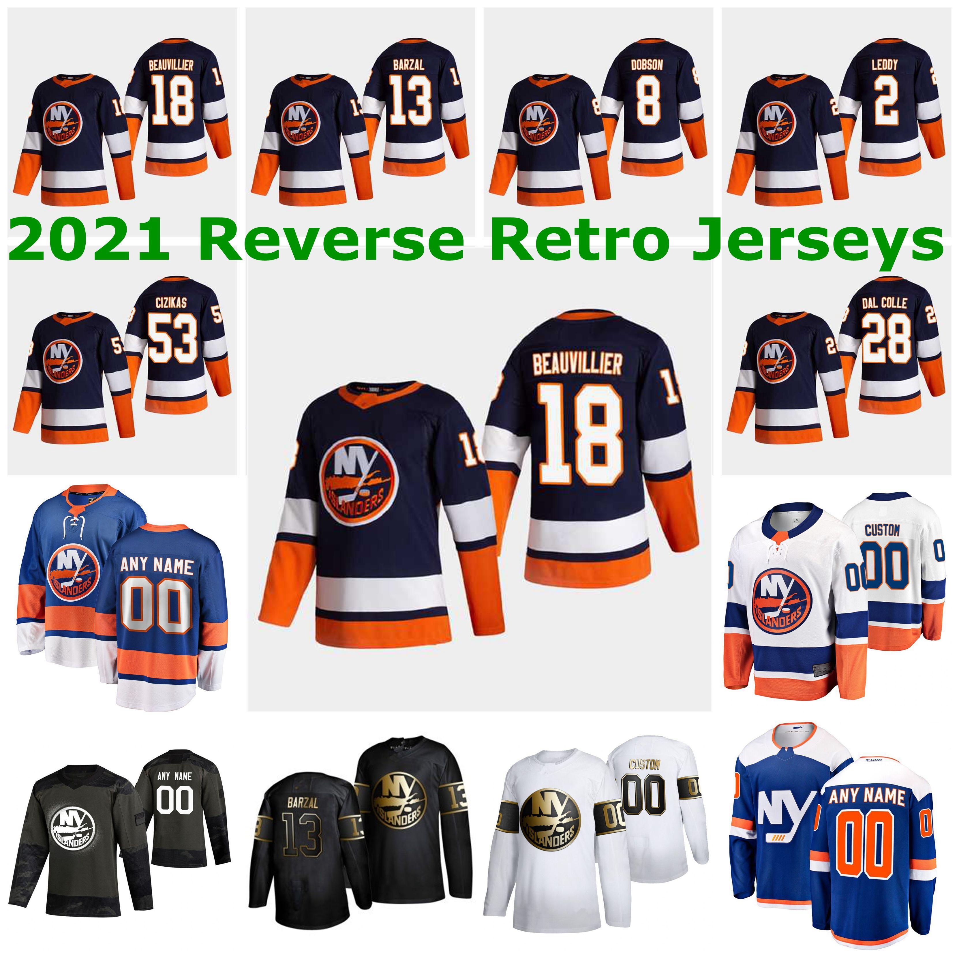 New York Islanders 2021 Reverse Retro Jerseys 13 Mathew Barzal Jersey 27 Anders Lee Matt Martin Josh Bailey Cal Clutterbuck Custom Stitched