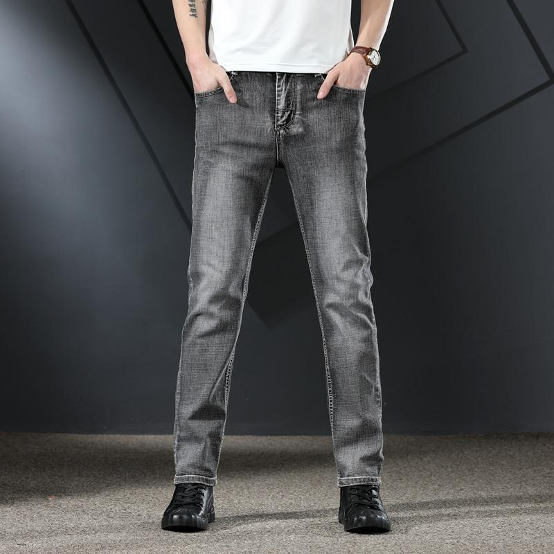 Pantalones vaqueros para hombres 2021 Pantalones de mezclilla de primavera verano delgado negro gris recto suelto de gran tamaño Tendencia de alta gama All-Match Pantalones de negocios