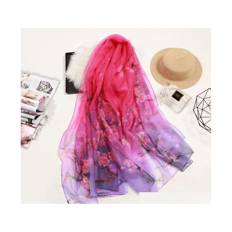 S1245 Hot Summer Women Slik Slik Screy Sun-Pantalla Seda Imitada Long Colorful Colorful Flower Waps Wraps Bufanda SQCXFV Beauty888