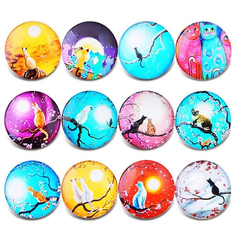 10pcs / lot Nuovi gioielli a scatto misto Vintage Dragonfly Glass Charms 18mm Pulsante a scatto Gioielli per 18mm Snaps Bracel Bbymvt