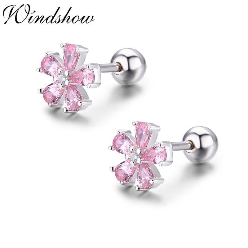 Милый розовый CZ 925 стерлинговые серебряные серебряные серебряные серьги для женщин девочек, пирсинг ювелирные изделия Orecchini Aros Aretes Kolczyki