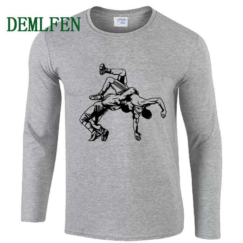 T-shirt da uomo stampato autunno stampato Nuovo wrestling Muay Thai T-Shirt Casual O-Neck Manica lunga in cotone Tshirt moda Tops Tops