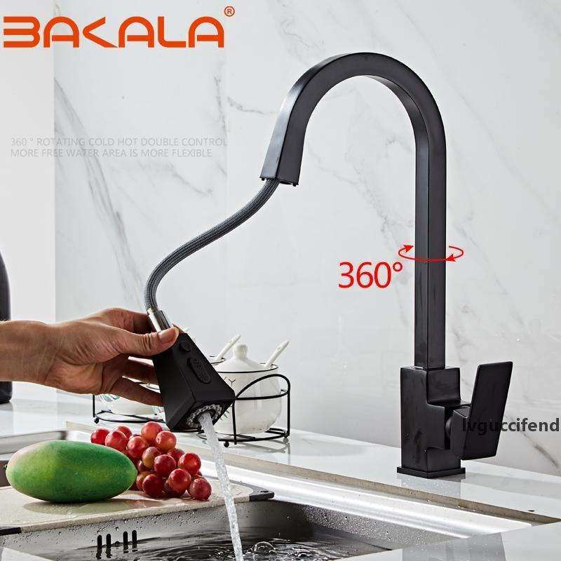 BAKALA Pull Out Kitchen Faucets Sink Faucet Brass Square Bathroom Kitchen Sink Mixers Hot and Cold Water Tap Deck Mounted T200424