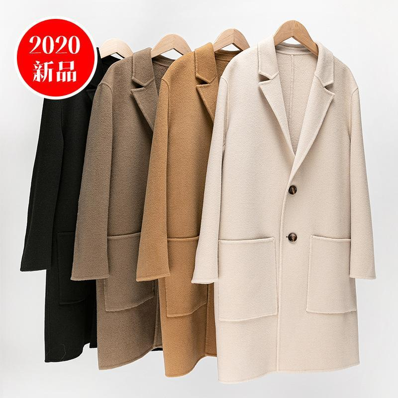 Outono Antes Novos Homens Cashmere Cashmere Duplo Diante de Duas Top Coreano Cabelo Slim Mão Coat Sewne