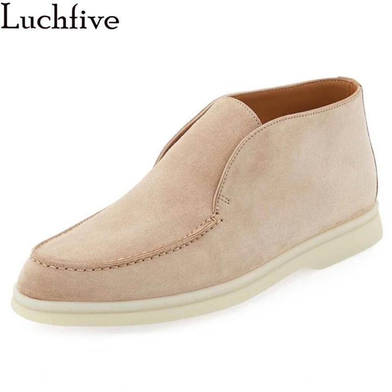 Мужчины высокие верхние мокасины обувь бозовая кожа плоская обувь комфорт резиновый мягкий подошвой вождение человек открытый тип случайная прогулка