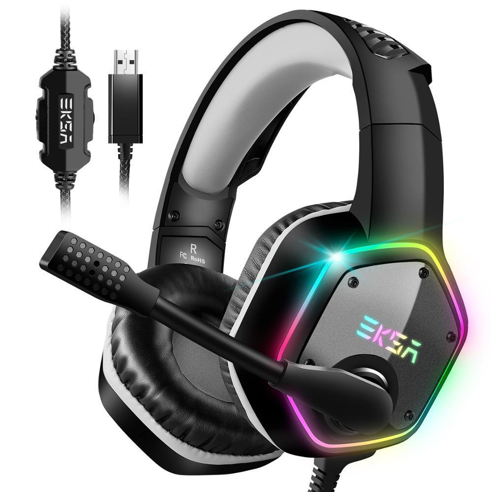 EKSA E1000 7.1 Casque de jeux sonore surround avec microphone pour PS4 / Xbox-one / PC Gamer Stéréo Headphone Wired Headphone Wired RGB LED Light Y1128