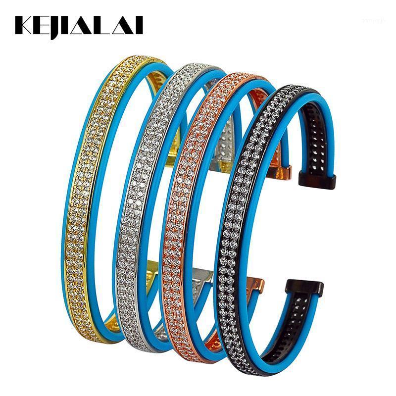 Bangle 2021 moda homens jóias couro de alta qualidade azul pássaro genuíno com linhas duplas limpar zirconia punho ajustável1