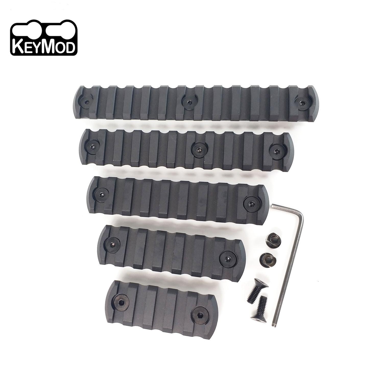 5,7,9,11,13,13 Slot CNC Aluminio Picatinny Sección de riel Keymod Type Corner / Edge Chafling Balck Color
