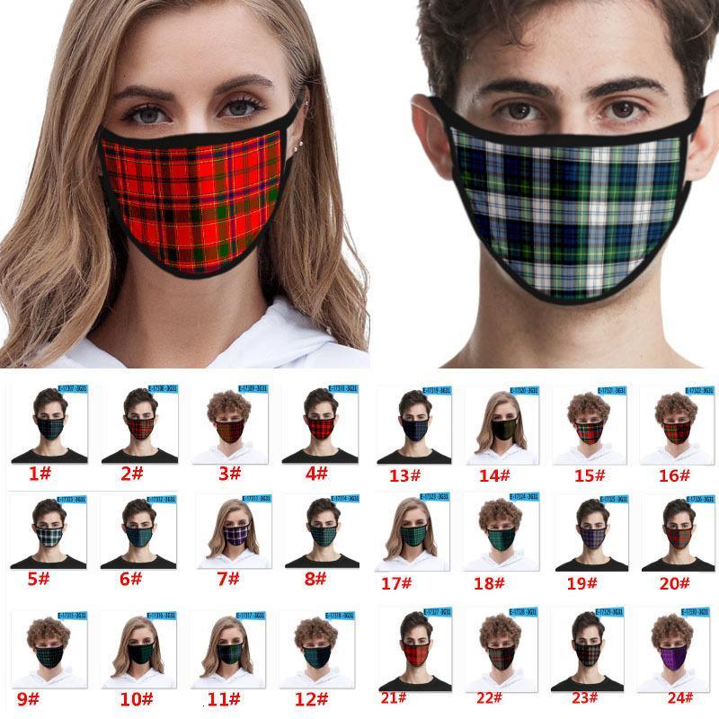 Viso di modo plaid per bambini adulti 3d ghiaccio in seta antipolvere bocca antivento lavabile riutilizzabile protettivo designer maschera HH9-3