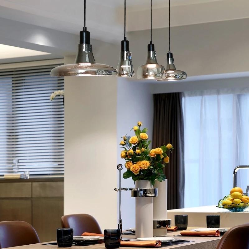 Lampada a sospensione in vetro grigio moderno Lampada nordica cucina cucina appendere lampada cafe bar ristorante casa illuminazione lampade a sospensione lampade