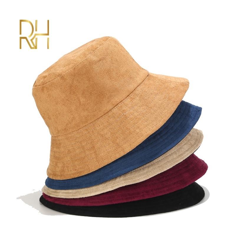 Neue Herbst Winter Eimer Hut Wildleder Unisex Mode Bob Caps Hip Hop Gorros Männer Frauen Panama Warme Winddichte Bucket Hut RH 201221